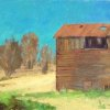 """The old Grain Barn—Arroyo Grande"" 8x18"" Oil (Maple Floater Frame)"