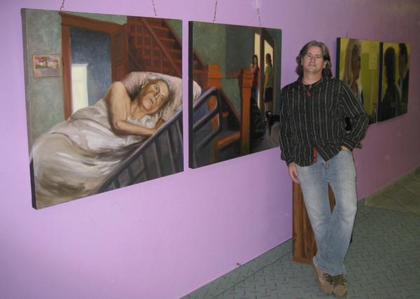 """Courtesy of Nicole D'Amore """"I think if I can find beauty in the simple, quiet things and connect with people on a deeper, spiritual level, my art is a success,"""" says Rich Brimer, with some of his paintings currently on exhibit at Café on A in Oxnard."""